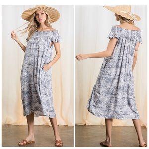 Dresses & Skirts - LAYLA BEACH DRESS OFF THE SHOULDER SLEEVE POCKETS